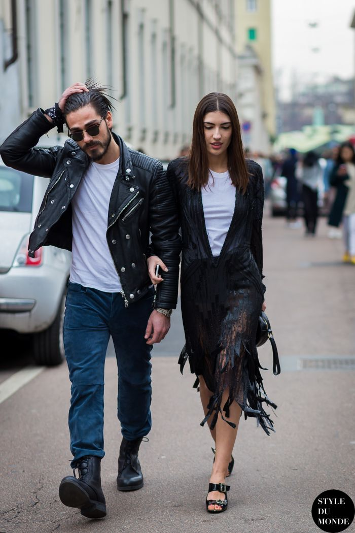 Milan Fashion Week FW 2015 Street Style: Patricia Manfield and Giotto Calendoli