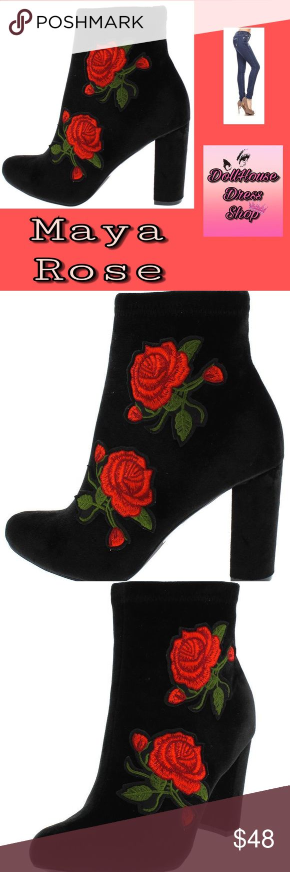 Hot!!! Velvet Maya Rose Embroidered Blk You'll fall in love with how velvety smooth these Booties are. Definitely should be in every divas closet. Very good quality and comfy to walk in.   Diva alert!!! Your outfit will be the hit of the season with these boots!  Features red embroidered roses down the outer side of the boot. Side zipper closure.  Almond toe paired with a covered heel.  Man made materials.  Approximate heel height 3 1/2 inches  I offer gift wrap services for free! Please…