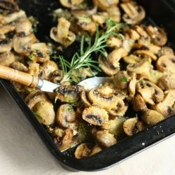 Baked Mushrooms with Rosemary and Parmesan--Needed a bit more rosemary... Subbed EVOO for a smidge of butter.