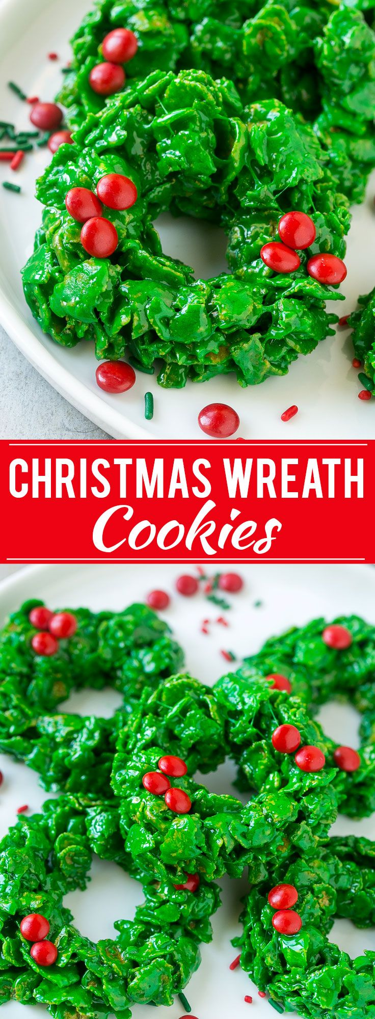 This recipe for no-bake Christmas wreath cookies has just six ingredients and can be made in 15 minutes. These cornflake wreaths are a festive addition to your holiday dessert table!