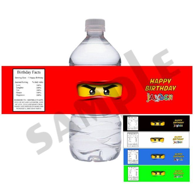 Ninjago Water Bottle Labels- Made to Match- DIY