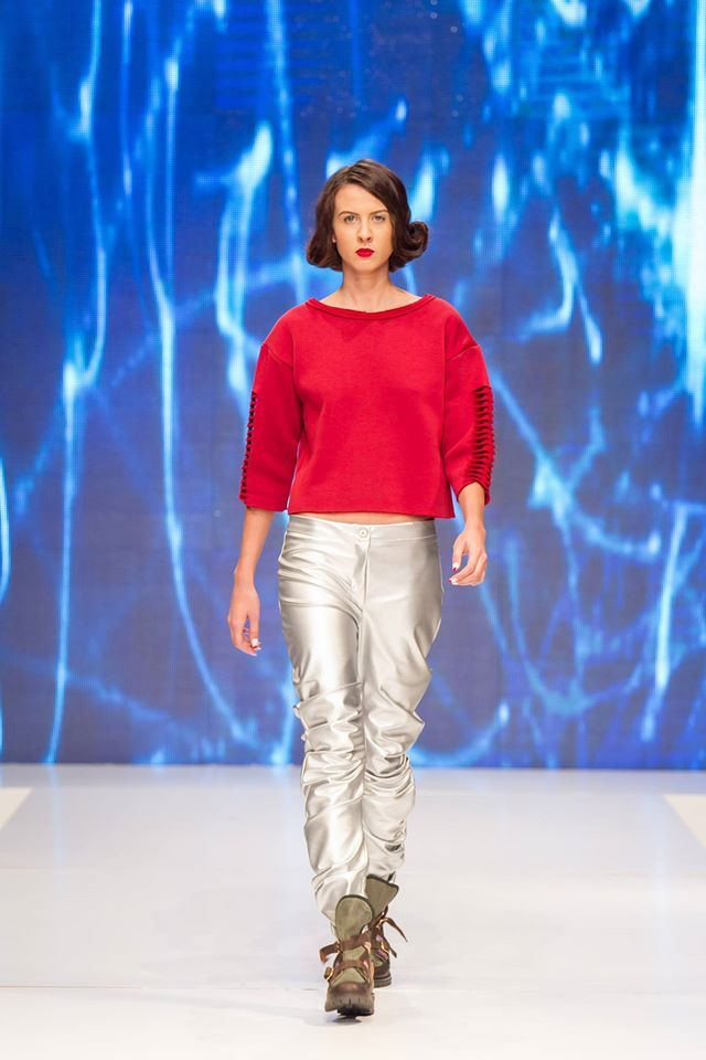 """Look #4 from our FW15 collection """"SandStorm"""" presented at Band of Creators fashion show.. If you like this look, you can find it online and on demand! For every purchase, you get a makeup bag! Outfit beautifully worn by Dinu Cristina , comprised of the #MeltingPoint #croptop and #ForceField #silverpants! Shoes by Bianca Georgescu. #starwars #inspiration #fw15 — with Bianca Georgescu and Dinu Cristina. Tags: Band of Creators"""