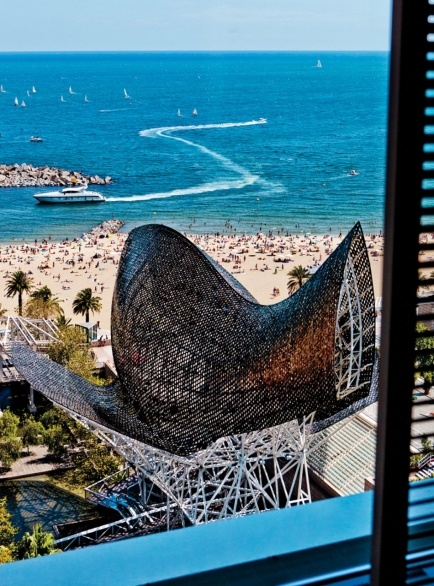 Thanks to Condé Nast Traveler for this shot. View of Barceloneta from Hotel Arts. Crazy to think I was spending my afternoons there six months ago