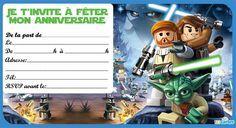 Invitation anniversaire lego star wars gratuite à imprimer. Disponible au format pdf en haute résolution. Télécharger invitation lego star wars