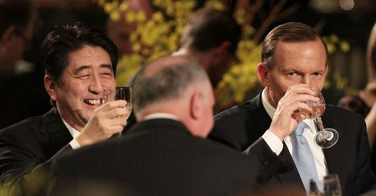 Australia's Prime Minister and Japan's Prime Minister had a bonding session over trade deals and one of the men woke up a little rough around the edges.