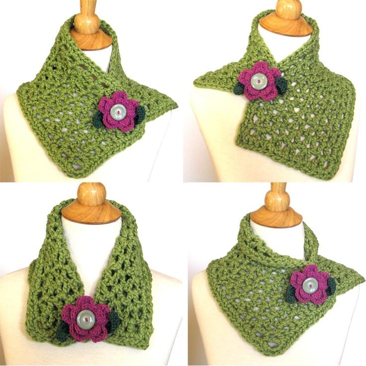 Crochet Scarf Cowl Green Organic Cotton with Free Purple Flower Brooch