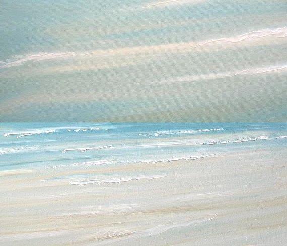 Beach ocean painting art print seascape painting by FradetFineArt