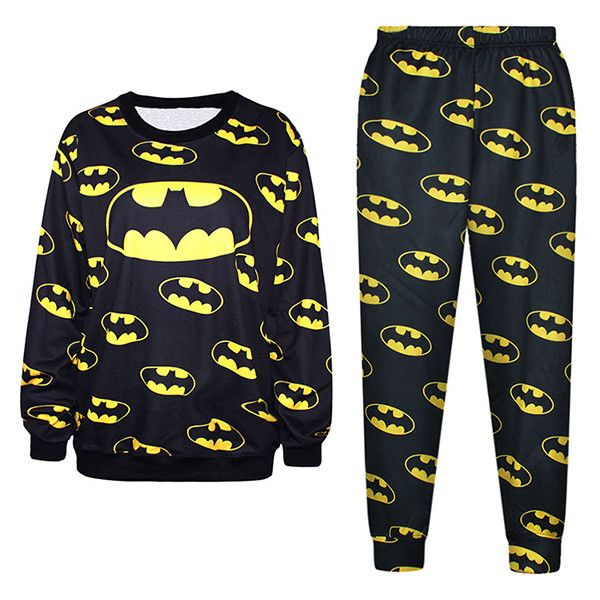 Black Cool Ladies Batman Symbol 3D Printed Pullover Sweatshirt Suit ($42) ❤ liked on Polyvore featuring batman, tops, bottoms, outfits y black