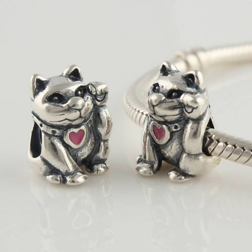 925 Sterling Silver Chinese Lucky Cat Charm Bead Fits By