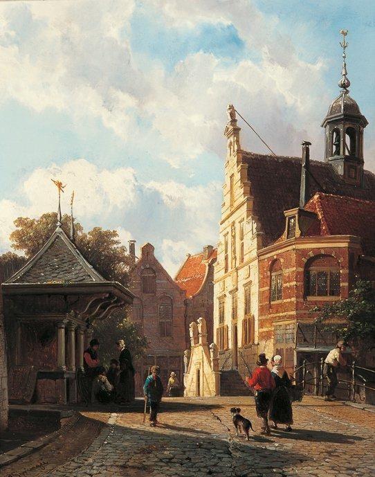 Cornelis Springer – Het stadhuis te Oudewater