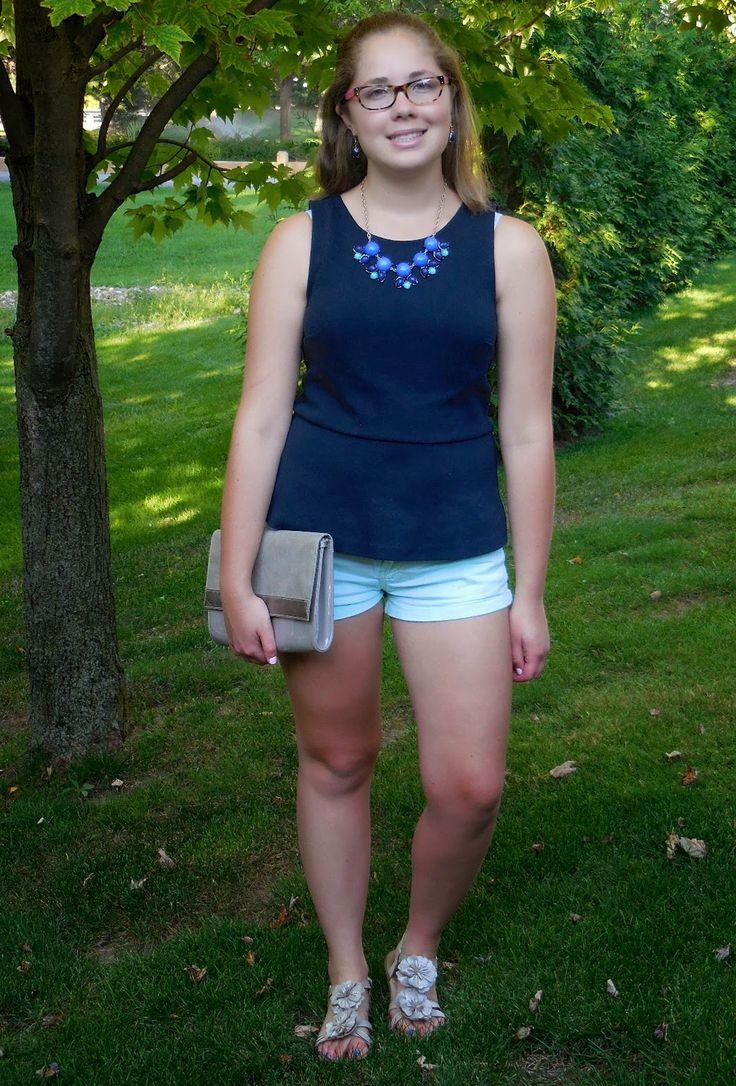 Mint, navy & statment necklace