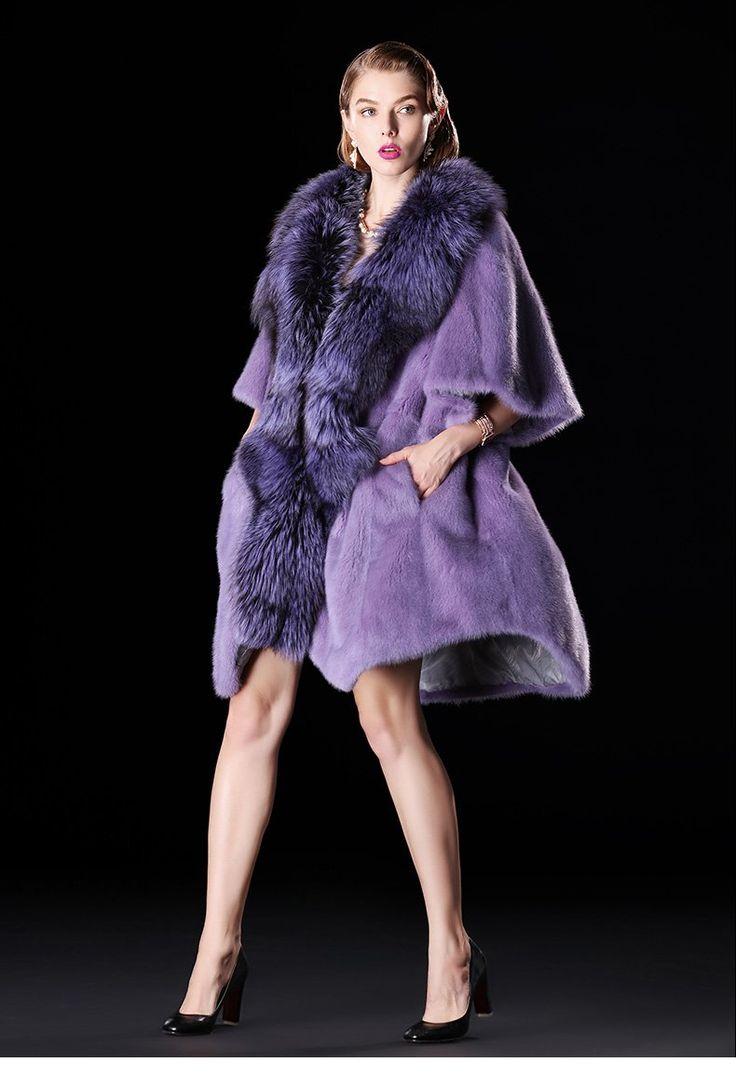Natural Full Pelt Slim Mink Fur Winter Coat