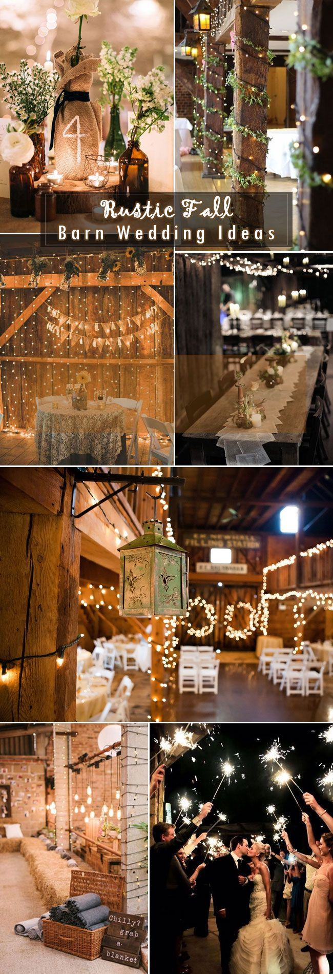 "Rustic Barn Wedding Lighting Decor Inspiration - hanging ""happily ever after"" with the sparkly lights and greenery on the posts"