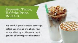 Starbucks gift card here: Half Price, Deals Coupon Freebies, Price Espresso, Latte Mocha, Favorite Places, Gifts Cards, Favorite Coff, Starbucks, Espresso Beverages