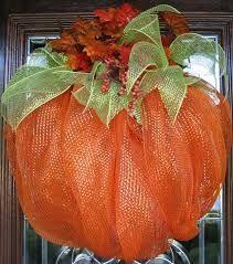 pumpkin deco mesh wreath - Google Search