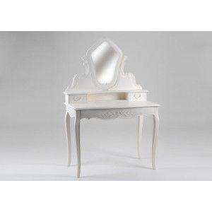 Coiffeuse baroque romantique en Acajou blanc 3 tiroirs Amandine  L 100 x P 50 x…