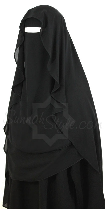 Extra Long Butterfly Niqab (Black) by Sunnah Style #SunnahStyle #niqabstyle #niqaab