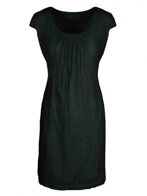 Damen Leinenkleid, schwarz von fashion made in italy bei www.meinkleidchen.de