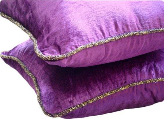 Purple Shimmer Purple Velvet Decorative Euro Sham In 2020 Vintage Throw Pillows Purple Pillows Purple Pillow Covers