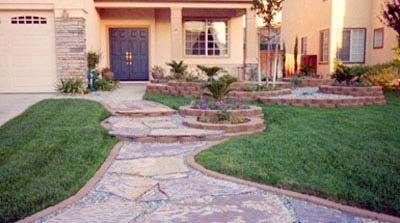 Front yard landscape home improvement