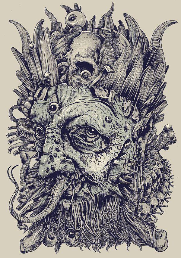 King by Rafal Wechterowicz on Behance | Drawing | Draw | Illustration | Dark | Hideous | Scare | Complex | Ilustração | Desenho | Paper | Pen | Pencil |
