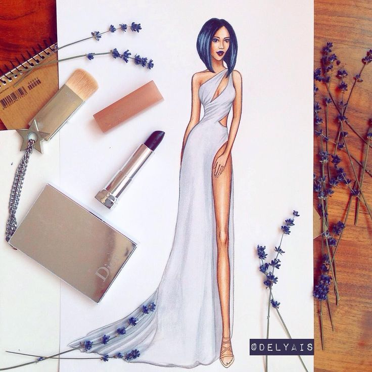 "1,151 Likes, 14 Comments - Fashion Illustrator & Artist (@delyais) on Instagram: ""Adorable @serayah in @verawanggang dress and @stuartweitzman shoes #DelyaisPastel"""