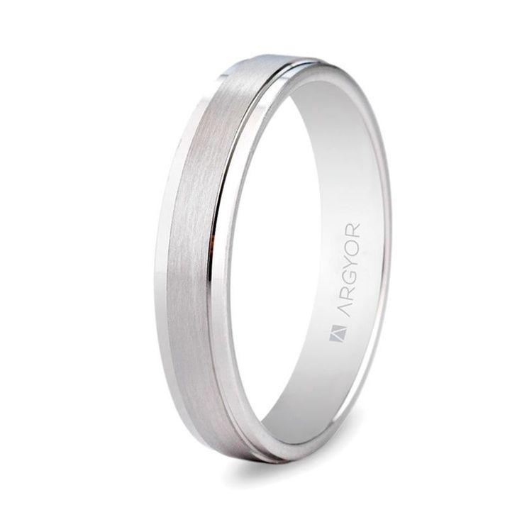 Alianza de boda en oro blanco de 18 quilates de diseño plano 5B40397 | Argyor