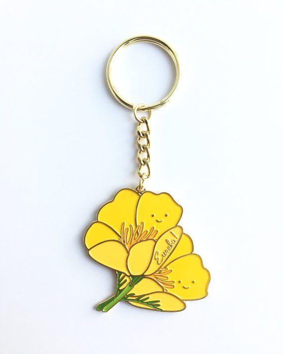 Gold California Poppy Soft Enamel Pin