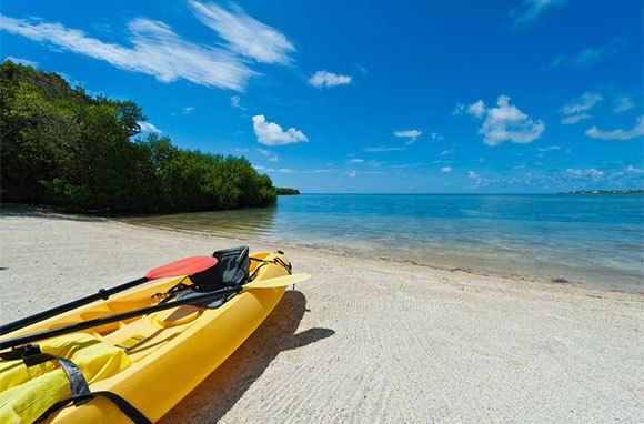 Curry Hammock State Park, Marathon, Florida. Best beaches in the Keys.  A great place to start a Keys kayak tour, as the park offers rentals, a sandy launch area, and a spectacular trail that rings the island and takes paddlers through a mangrove creek. Make your way to the sandbar just off the shoreline, where the snorkeling is excellent and the shallow water is great for a refreshing mid-tour swim.