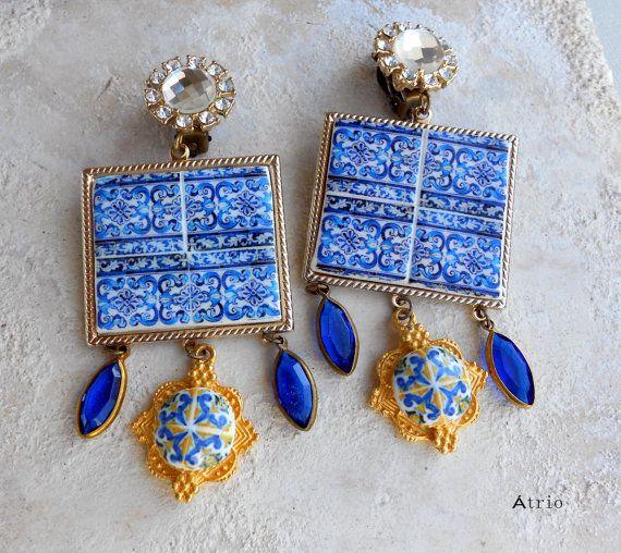 Portugal Antique Blue Azulejo Tile Majolica Baroque CLIP by Atrio