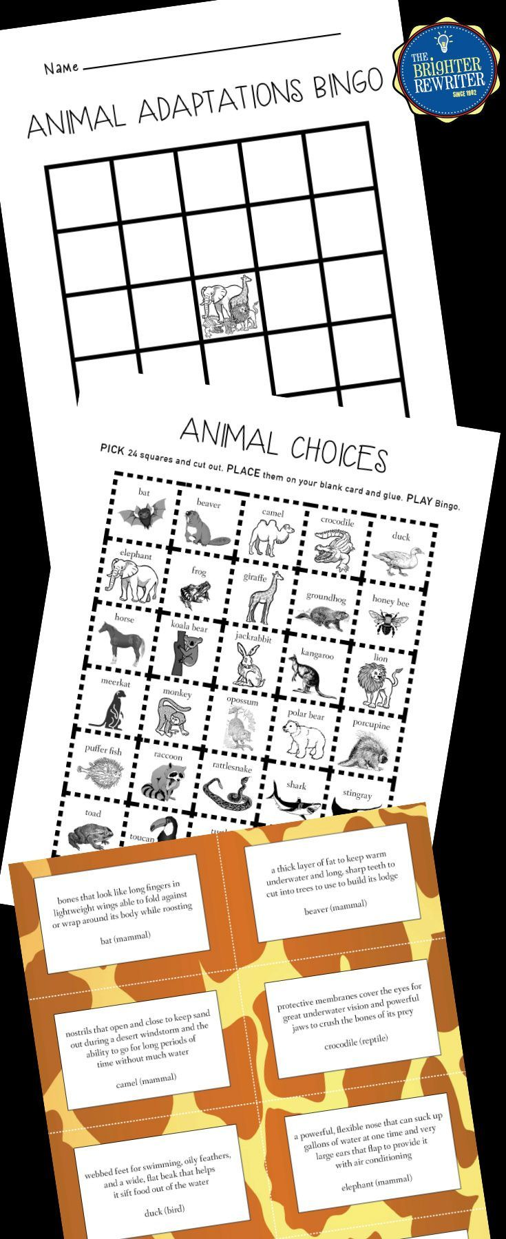 This fun game features 30 different animals and one or more of their physical, behavioral, or camouflage adaptations. The animals include mammals, amphibians, reptiles, birds, fish, and insects. Students create their own bingo cards. The teacher reads an adaptation clue(s) aloud, then students cover the animal name if they have that choice on their cards. There's also a cool mini-poster printable about all the animals and their adaptations. Great for any animal unit!