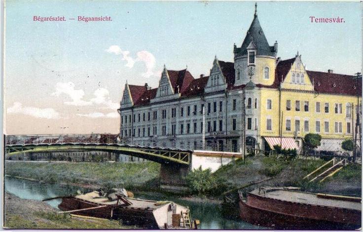 Timisoara - 1914 - Canalul Bega şi Palatul Ancora, construit între anii 1901 - 1902 pe locul fostei Căpitănii a Portului Timişoara