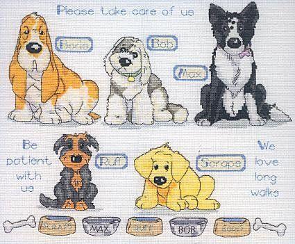 Schematic cross stitch Dogs Bowls 01