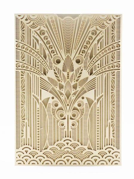 Golden Era Pocket Invitation Birthdays Art Deco Party
