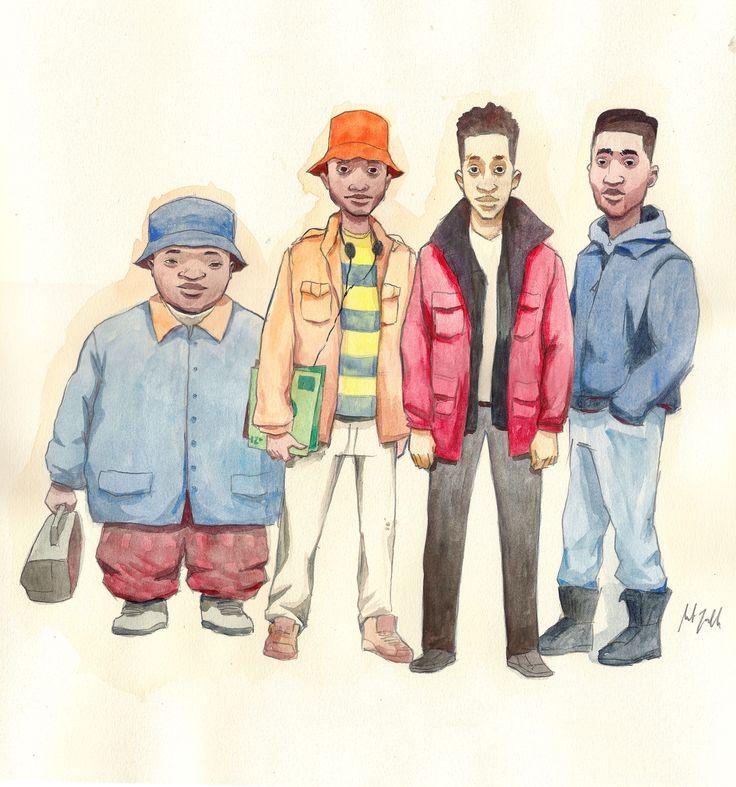 The cast of the movie Juice featuring Omar Epps, Tupac Shakur, Khalil Kain, Jermaine Hopkins