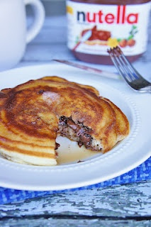 Nutella Stuffed Pancakes- oooh: Nutella Stuffed, Wife Cooking Serving, Stuffed Pancakes, Kitchens Life, Eating, Food Baby, Breakfast Recipes, Cups Bisquick, Navy Wife