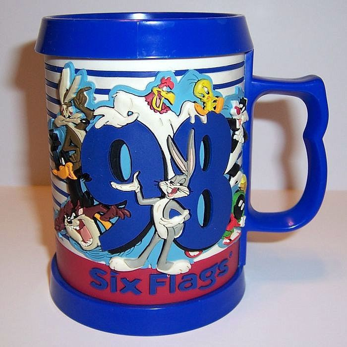 "Six Flags Looney Tunes 3D Mug Cup Bugs Bunny Marvin Martian Taz 4.75"" 3-D 1998 #SixFlags #LooneyTunes #BugsBunny"