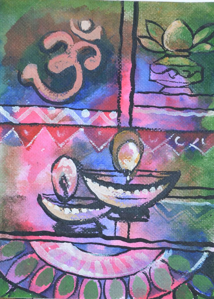 Diwali Card in the form of Painting