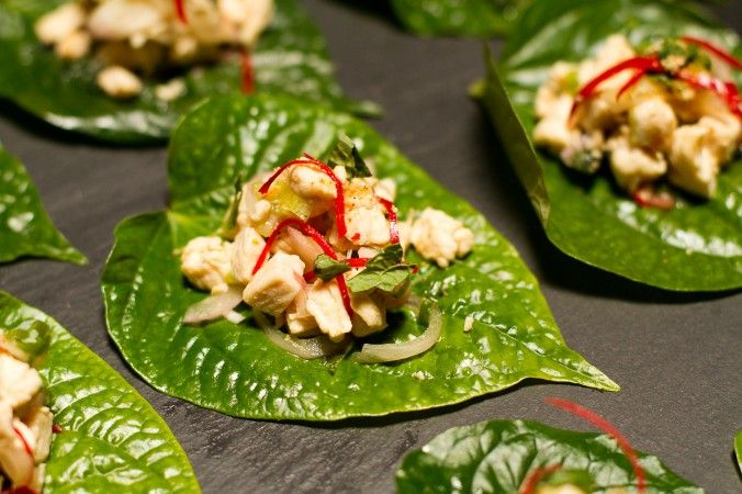 Betel's chicken larb betel leaf. Betel leaf dishes are common in Thailand food hawker stalls but rare everywhere else. (Jan Jekielek/Epoch Times)