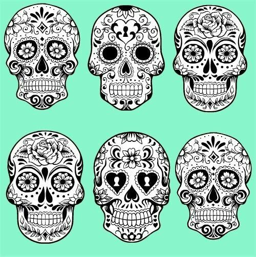 Detailed sugar skulls black and white