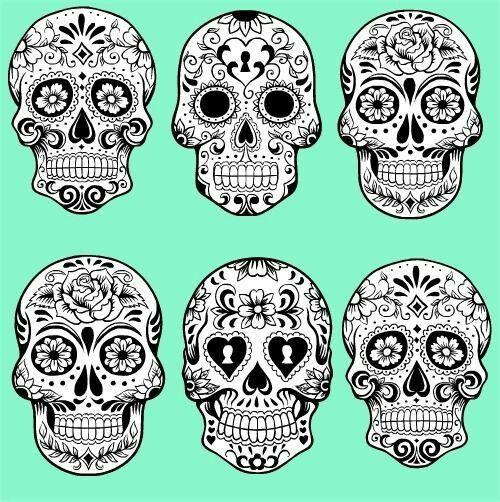 Detailed sugar skulls black and white