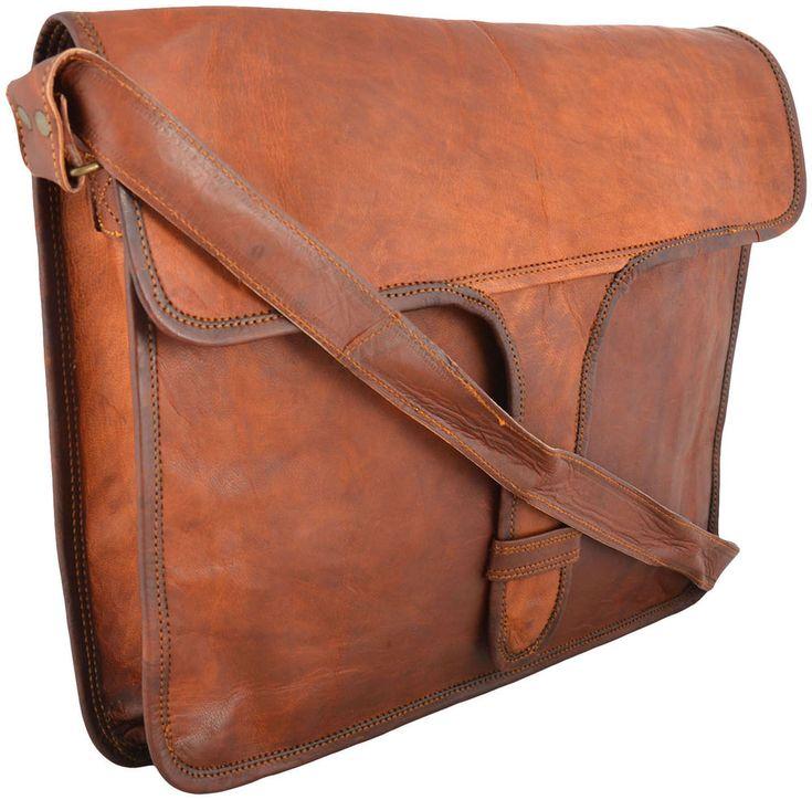 """15"""" Large Leather Messenger bag for men shoulder bag Laptop briefcase / attache #Handmade #MessengerShoulderBag"""