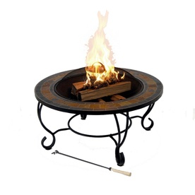 Garden Treasures 35 Steel Wood And Slate Burning Fire Pit Patio Furniture Pinterest