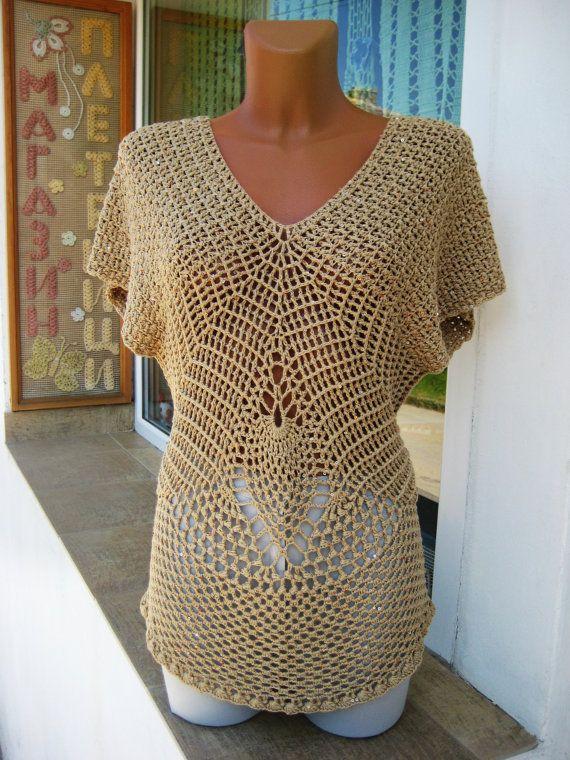 Elegant Blouse Crochet  Knitted Ladies Blouse  by BoryanacrochetBG