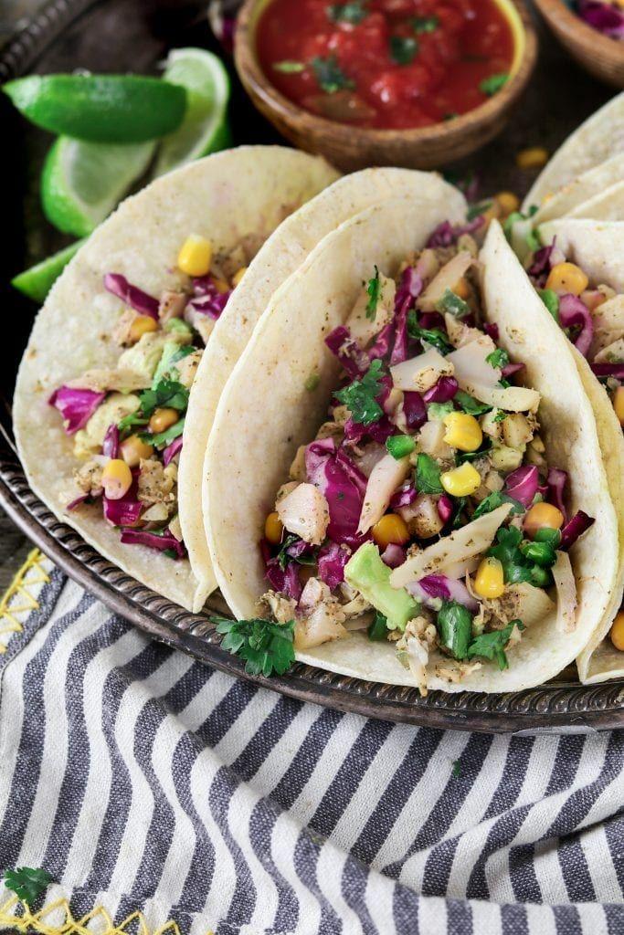 Vegan Fish Tacos With Cilantro Lime Corn Slaw Recette Cuisine