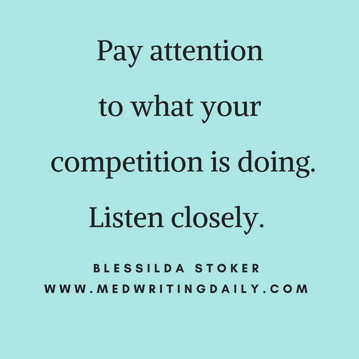 Who are your competitors? Are you visiting their websites?   Do you know what works and what doesn't?  Pay attention to what your competition is doing.   Listen closely.   They could be doing something valuable to consumers - so make sure you're not being left out.  What are others saying about them?  You can find every healthcare topic in blogs, forums and websites.   Dig deep into google searches.   And find a ton of information waiting for you.   #marketing #health