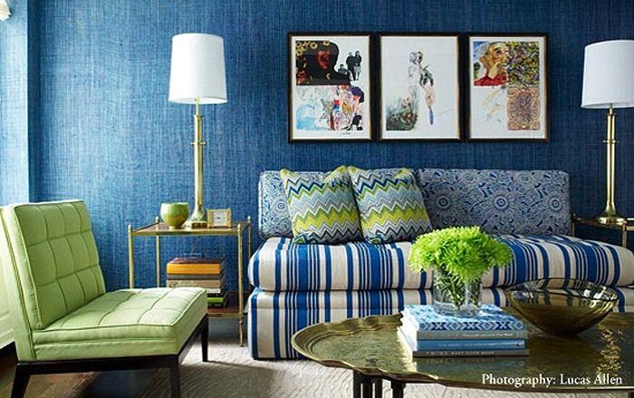 синий цвет в интерьере сочетание