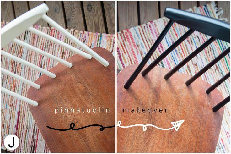 A little chair makeover :) Pieni pinnatuoli-makeover :)  Check more on the blog -> http://diyjenny.blogspot.fi/2015/05/pinnoja-vahemman-koettelevia-pinnoja.html