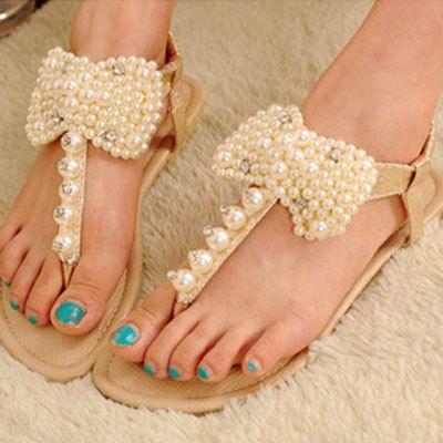 Sweet Bead Rhinestone Rhinestone Thong Sandals from gigmall on Storenvy