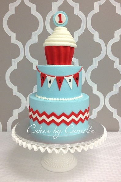 Cupcake, chevron stripes and name banner, perfect design for any color scheme, boy or girl